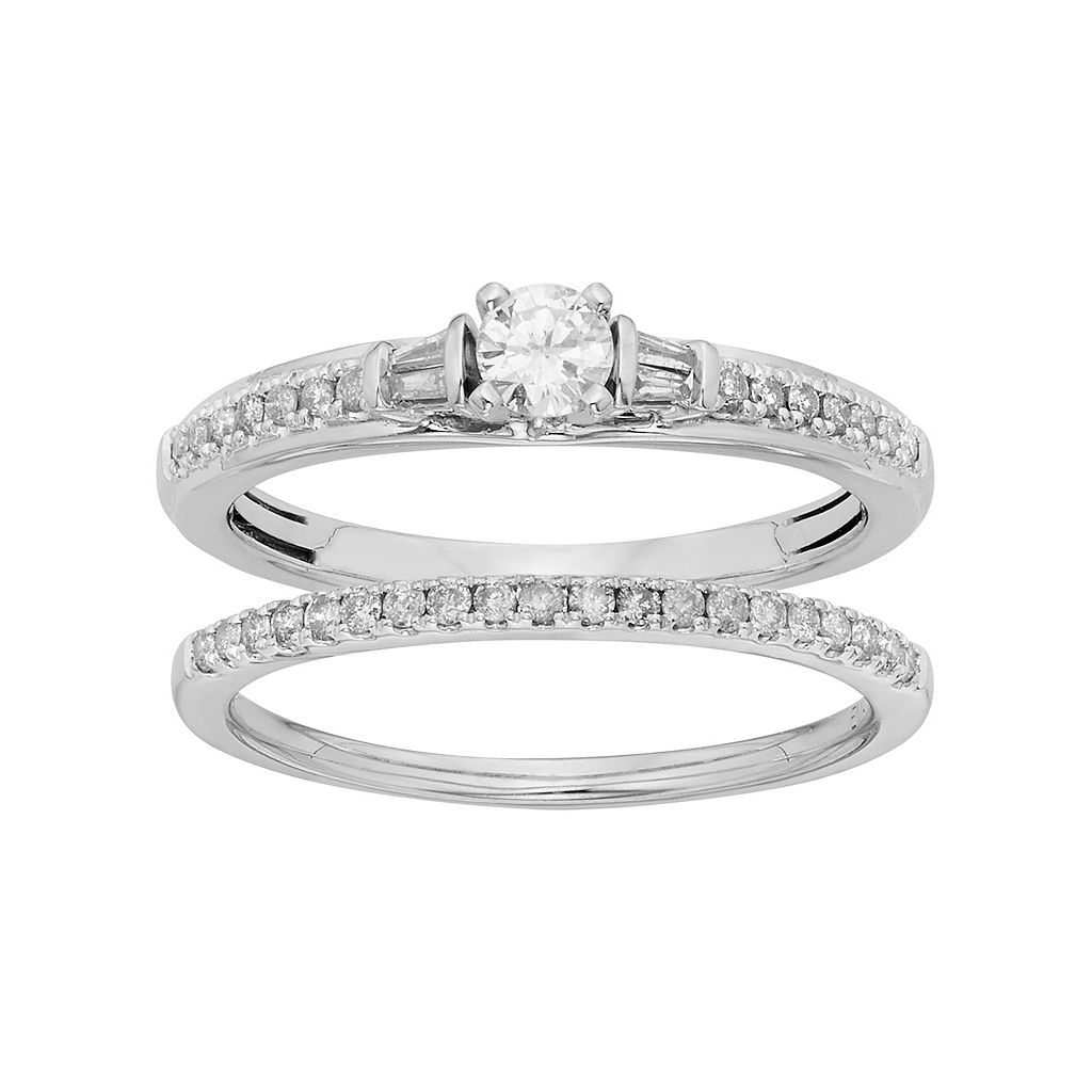 Diamond Engagement Ring Set in 10k White Gold (1/2 Carat T.W.)
