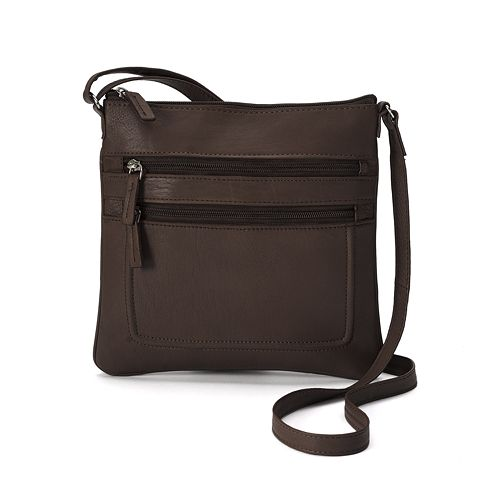 R&R Leather Piped Crossbody Bag