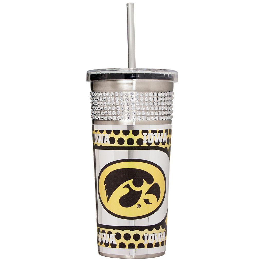 Iowa Hawkeyes Bling Stainless Steel Straw Tumbler