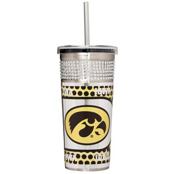 Iowa Hawkeyes Bling Stainless Steel Straw Tumbler