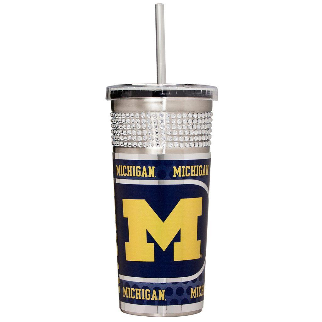 Michigan Wolverines Bling Stainless Steel Straw Tumbler
