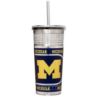 Michigan Wolverines Bling Stainless Steel Straw Tumbler