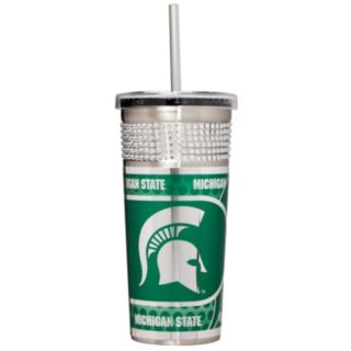 Michigan State Spartans Bling Stainless Steel Straw Tumbler