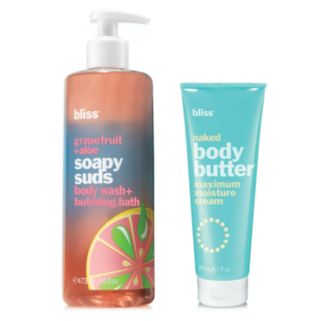bliss Grapefruit + Aloe Soapy Suds Body Wash + Bubbling Bath & Naked Body Butter Gift Set