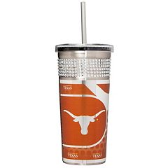 Texas Longhorns Bling Stainless Steel Straw Tumbler
