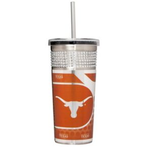 Texas Longhorns Bling Stainless Steel Straw Tumbler