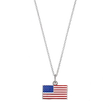 LogoArt Sterling Silver American Flag Pendant Necklace