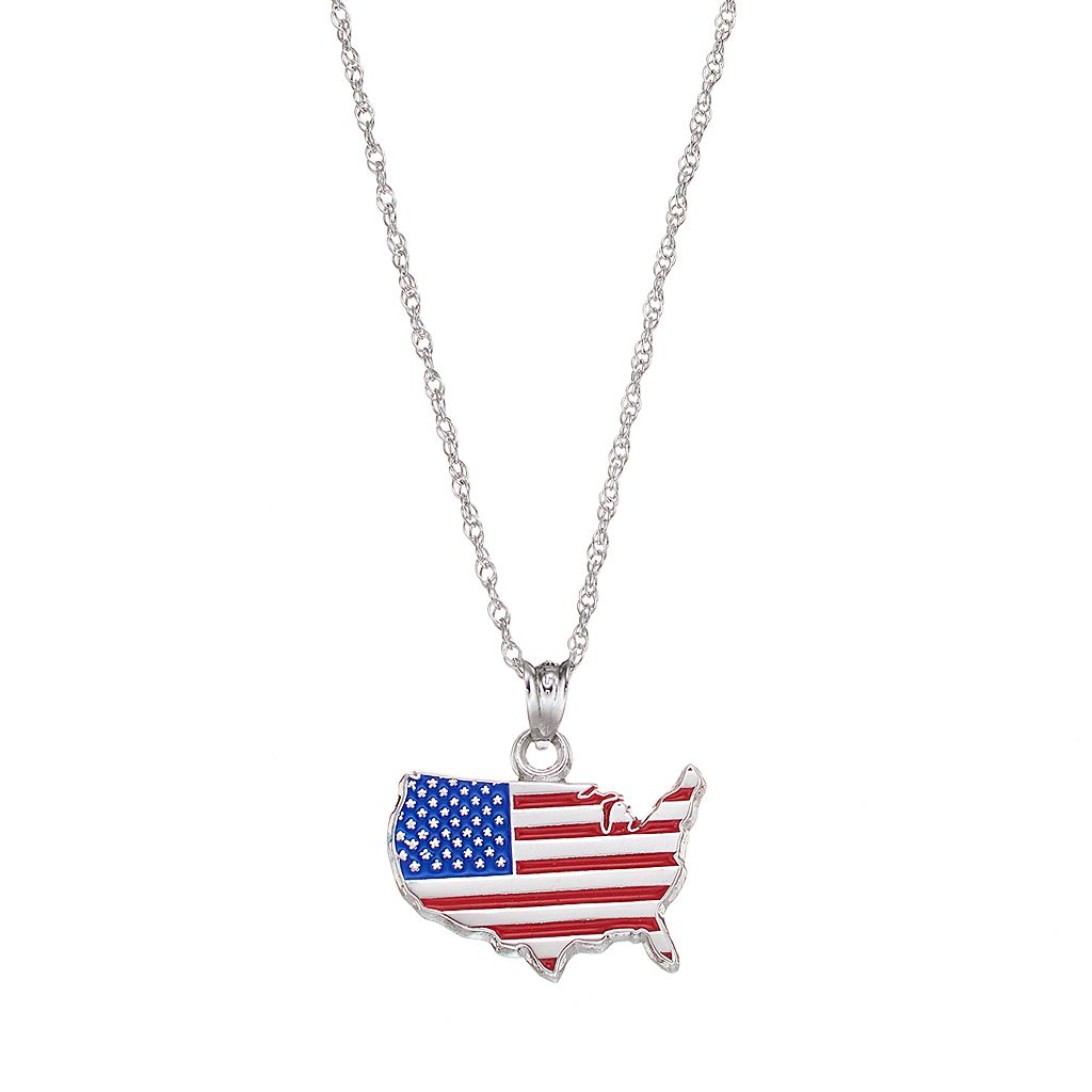 LogoArt Sterling Silver United States American Flag Pendant Necklace