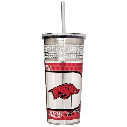 Arkansas Razorbacks Bling Stainless Steel Straw Tumbler