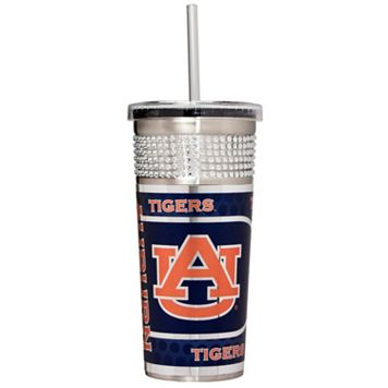 Auburn Tigers Bling Stainless Steel Straw Tumbler