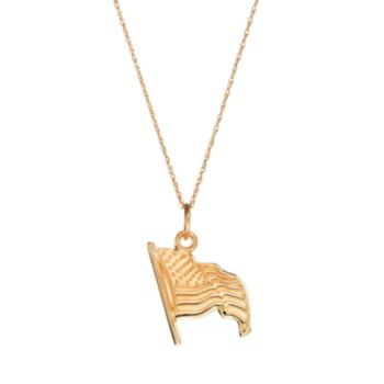 LogoArt Sterling 10k Gold American Flag Pendant Necklace