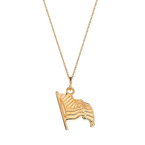 LogoArt Sterling 10k Gold American Flag Pendant Necklace