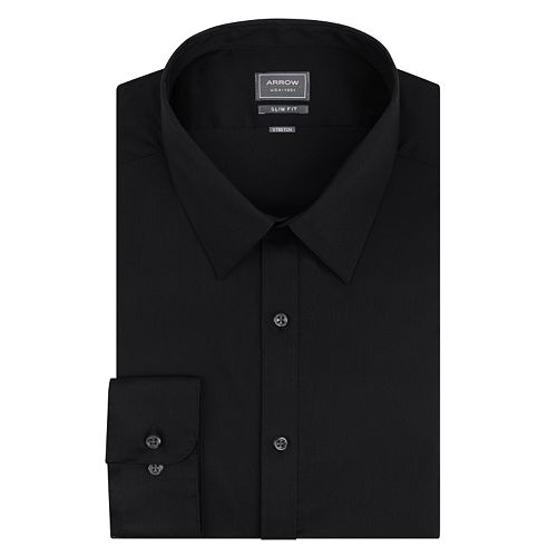 Men's Arrow Stretch Slim-Fit Solid Point-Collar Dress Shirt