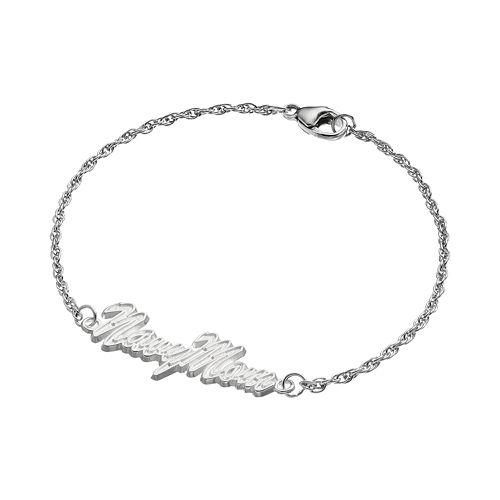 "LogoArt Sterling Silver ""Navy Mom"" Bracelet"