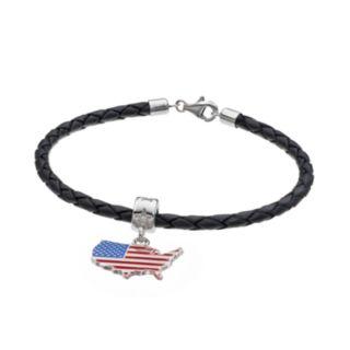 LogoArt Sterling Silver United States American Flag Charm Bracelet