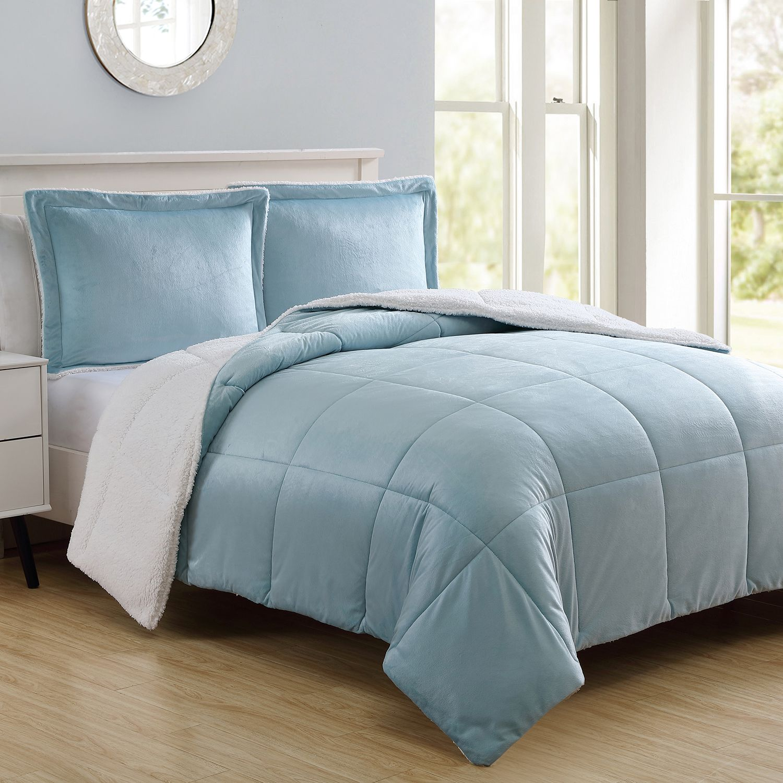 vcny micromink u0026 sherpa reversible comforter set