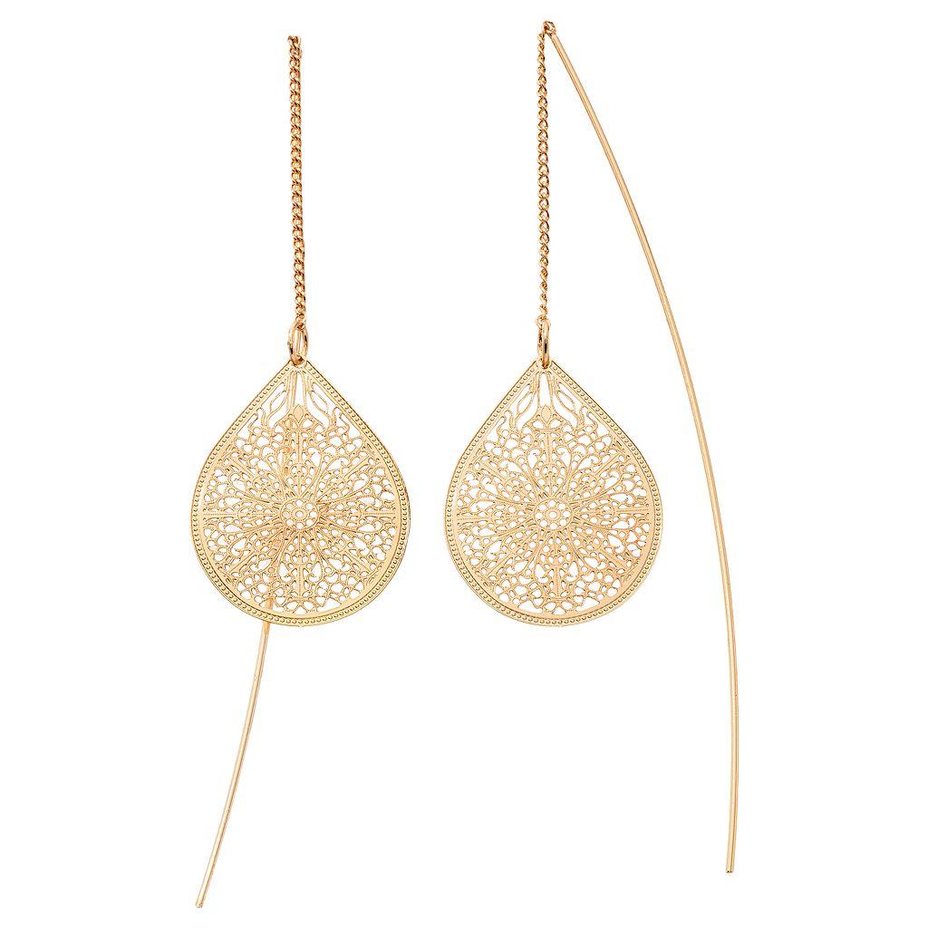 LC Lauren Conrad Filigree Teardrop Threader Earrings