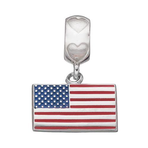 LogoArt Sterling Silver American Flag Charm