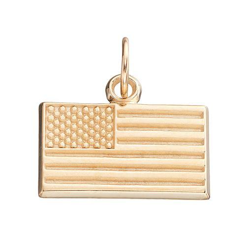 LogoArt 10k Gold American Flag Pendant