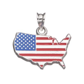 LogoArt Sterling Silver United States American Flag Pendant