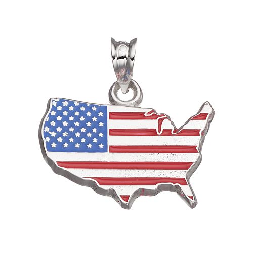 LogoArt Sterling Silver United States American Flag Pendant