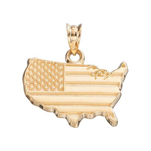LogoArt 10k Gold United States American Flag Pendant