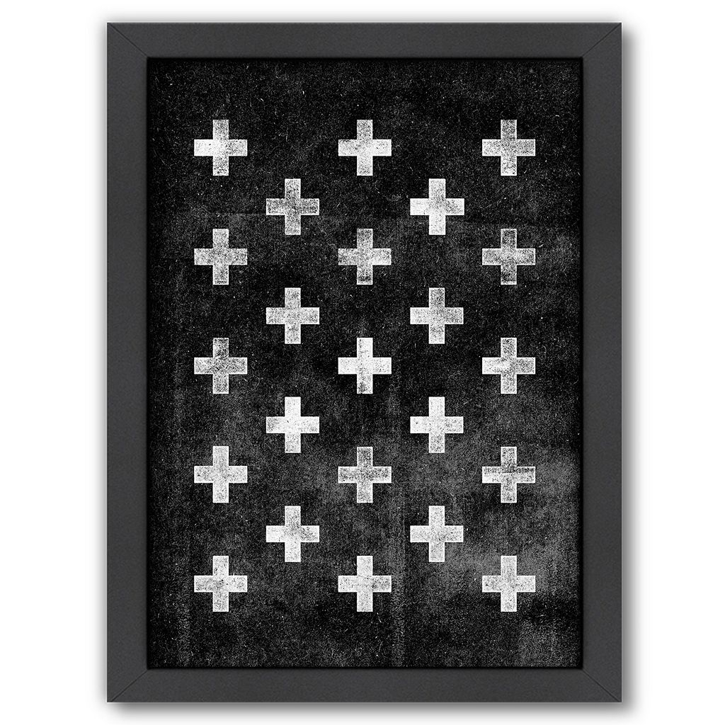 Americanflat Swiss Cross Pattern Framed Wall Art