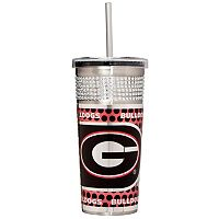 Georgia Bulldogs Bling Stainless Steel Straw Tumbler