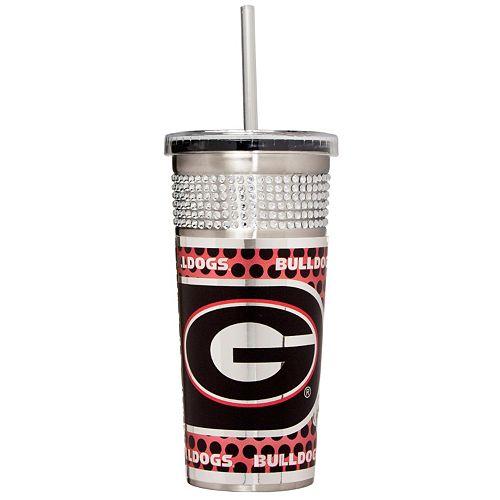 Georgia Bulldogs Bling Stainless Steel Straw Tumbler