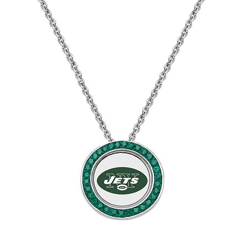 New York Jets Team Logo Crystal Pendant Necklace - Made with Swarovski Crystals