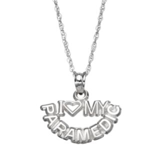 "LogoArt Sterling Silver ""I Love My Paramedic"" Pendant Necklace"