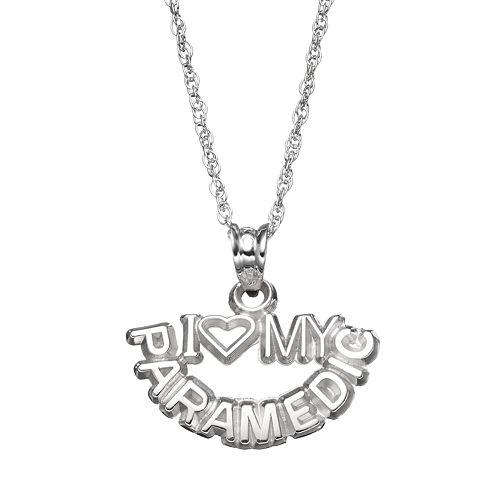 "LogoArt Sterling Silver ""I Love My Paramedic"" Pendant Necklace"