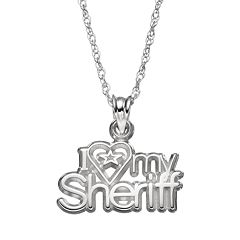 LogoArt Sterling Silver 'I Love My Sheriff' Pendant Necklace