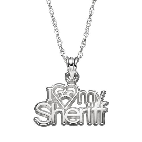 "LogoArt Sterling Silver ""I Love My Sheriff"" Pendant Necklace"
