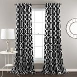 Lush Decor Edward Trellis Room Darkening Window Curtain Panels White/Black 52X95 Set