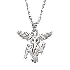 LogoArt Sterling Silver 'RN' Caduceus Nurse Pendant Necklace