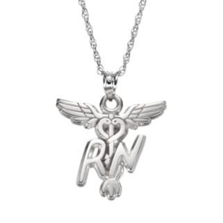 "LogoArt Sterling Silver ""RN"" Caduceus Nurse Pendant Necklace"