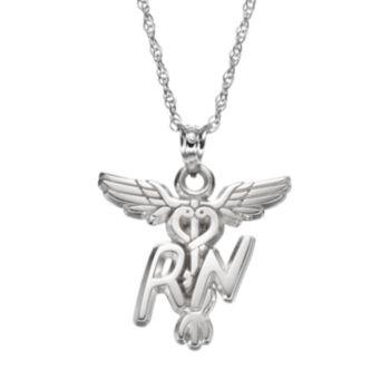 "LogoArt Sterling Silver ""RN"" Caduceus Nurse Pendant Necklace"