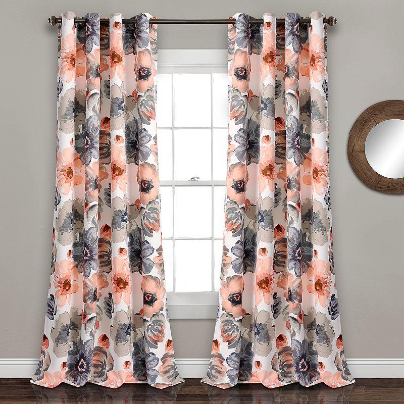 Lush Decor Leah 2- Pack Room Darkening Window Curtains. Pink. 52X108