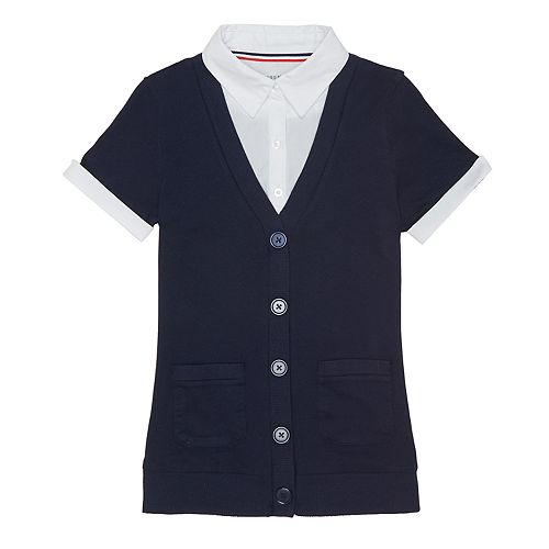 Girls 4-20 & Plus Size French Toast School Uniform Mock-Layer Cardigan Top