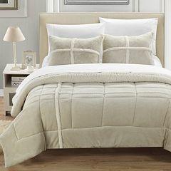 Chloe Plush Microsuede & Sherpa 3-pc. Reversible Comforter Set