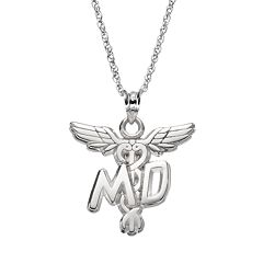 LogoArt Sterling Silver 'MD' Caduceus Doctor Pendant Necklace