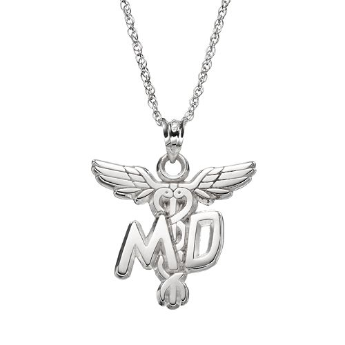 "LogoArt Sterling Silver ""MD"" Caduceus Doctor Pendant Necklace"