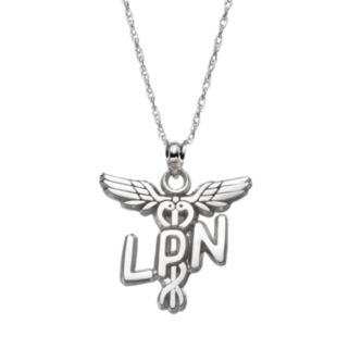 "LogoArt Sterling Silver ""LPN"" Caduceus Nurse Pendant Necklace"