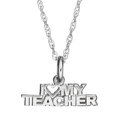 LogoArt Sterling Silver 'I Love My Teacher' Pendant Necklace