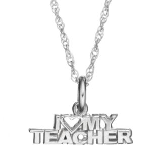 "LogoArt Sterling Silver ""I Love My Teacher"" Pendant Necklace"