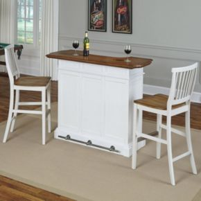 Home Styles 3-piece Americana White Bar & Stools Set