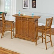 Home Styles 3 pc Americana Oak-Finish Bar & Stools Set
