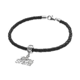 "LogoArt Sterling Silver & Leather ""I Love My Sheriff"" Charm Bracelet"