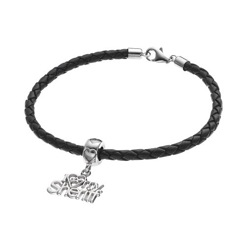 "LogoArt Sterling Silver & Leather ""I Love My Sheriff"" Charm Bracelet"